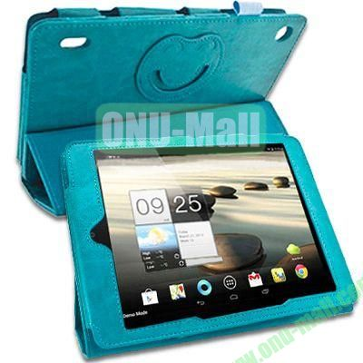 3-folding Crazy Horse Texture Leather Case for Acer Iconia A1-810 with Holder (Green)