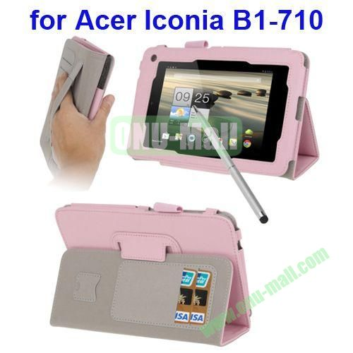 Leather Case for Acer Iconia B1-710 with Holder & Credit Card Slots & Elastic Hand Strap & Touch Pen (Pink)
