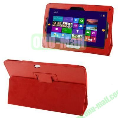 Crazy Horse Texture Leather Case for Acer Iconia W510 with Holder (Red)