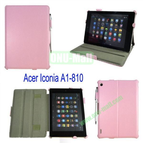 Smart Wake UpSleep Flip Stand Leather Case for Acer Iconia A1-810 with Pen(Pink)