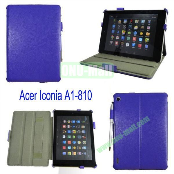 Smart Wake UpSleep Flip Stand Leather Case for Acer Iconia A1-810 with Pen(Purple)