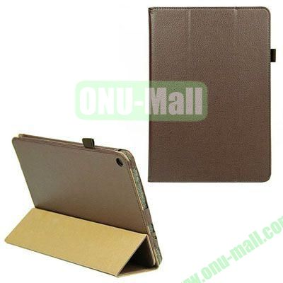 3-folding Litchi Texture Leather Case with Holder for Acer Iconia A3 (Brown)
