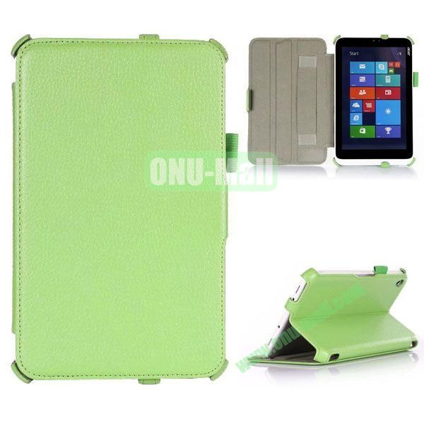 Litchi Texture Flip Stand Leather Case with 2 Gears and Armband Belt for Acer Iconia W3-810 (Green)