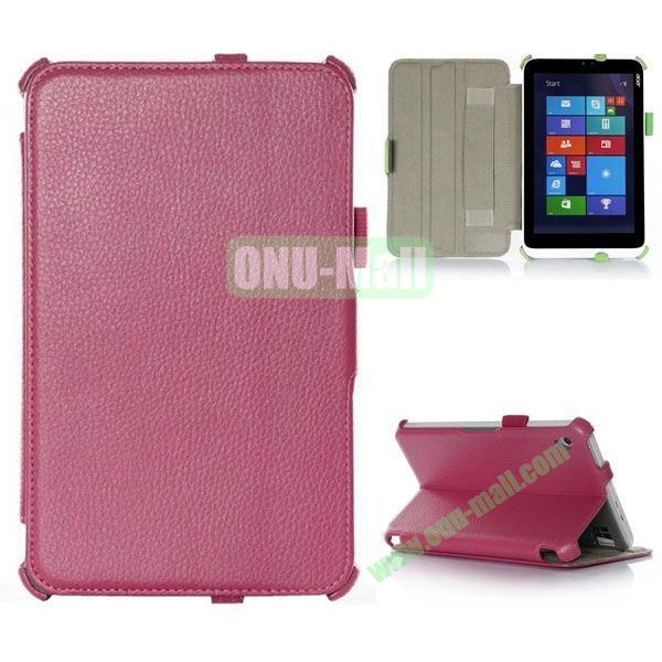 Litchi Texture Flip Stand Leather Case with 2 Gears and Armband Belt for Acer Iconia W3-810 (Rose)