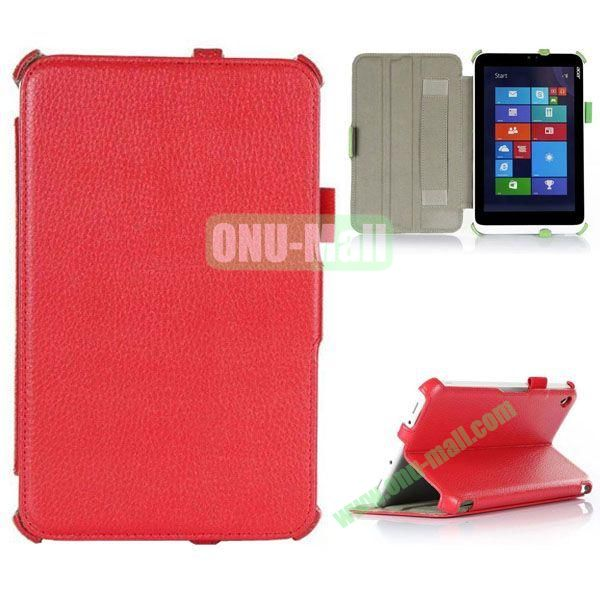 Litchi Texture Flip Stand Leather Case with 2 Gears and Armband Belt for Acer Iconia W3-810 (Red)