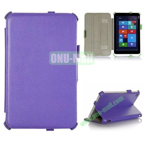 Litchi Texture Flip Stand Leather Case with 2 Gears and Armband Belt for Acer Iconia W3-810 (Purple)