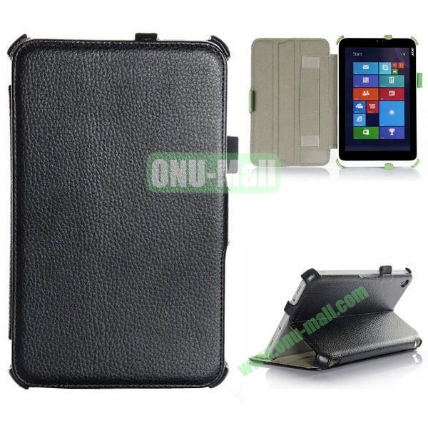 Litchi Texture Flip Stand Leather Case with 2 Gears and Armband Belt for Acer Iconia W3-810 (Black)