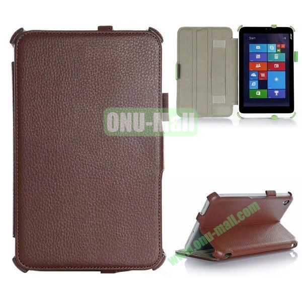 Litchi Texture Flip Stand Leather Case with 2 Gears and Armband Belt for Acer Iconia W3-810 (Brown)