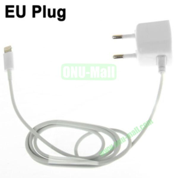 1m 8 Pin Male Adapter EU Plug Wall Charger for iPhone 5, iPad mini, iPad touch 5, iPod Nano 7(White)