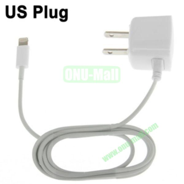1m 8 Pin Male Adapter US Plug Wall Charger for iPhone 5, iPad mini, iPad touch 5, iPod Nano 7(White)