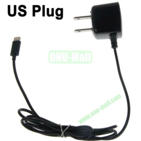 1m 8 Pin Male Adapter US Plug Wall Charger for iPhone 5, iPad mini, iPad touch 5, iPod Nano 7(Black)