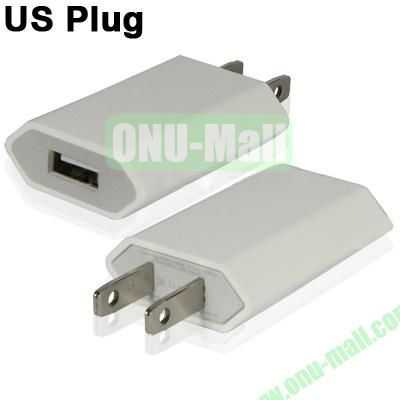 5V 1A US Plug USB Charger for iPhoneiPad miniiPod Touch (White)