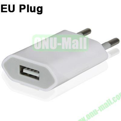 5V 1A EU Plug USB Charger for iPhoneiPad miniiPod Touch (White)