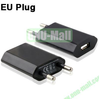 5V 1A EU Plug USB Charger for iPhoneiPad miniiPod Touch (Black)