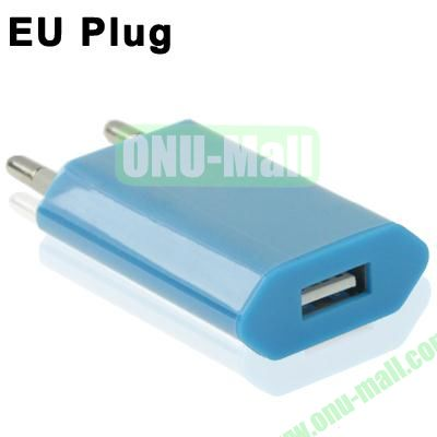 5V 1A EU Plug USB Charger for iPhoneiPad miniiPod Touch (Blue)