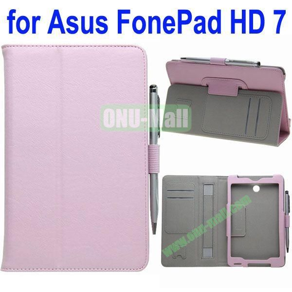 Crazy Horse Texture Flip Leather Case for ASUS Fonepad 7 ME372CG with Holder and Card Slots & Armband (Pink)