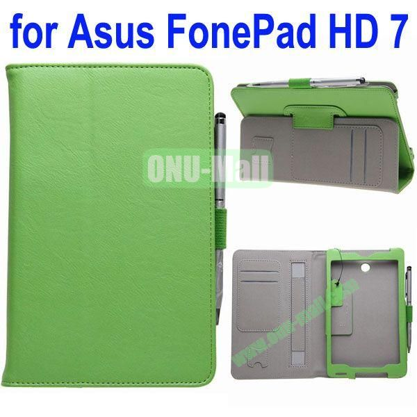Crazy Horse Texture Flip Leather Case for ASUS Fonepad 7 ME372CG with Holder and Card Slots & Armband (Green)