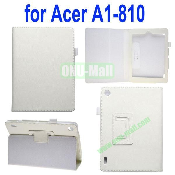 High Quality Lichee Texture Leather Case for Acer Iconia A1-810 with Pen Holder (White)