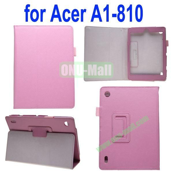 High Quality Lichee Texture Leather Case for Acer Iconia A1-810 with Pen Holder (Pink)
