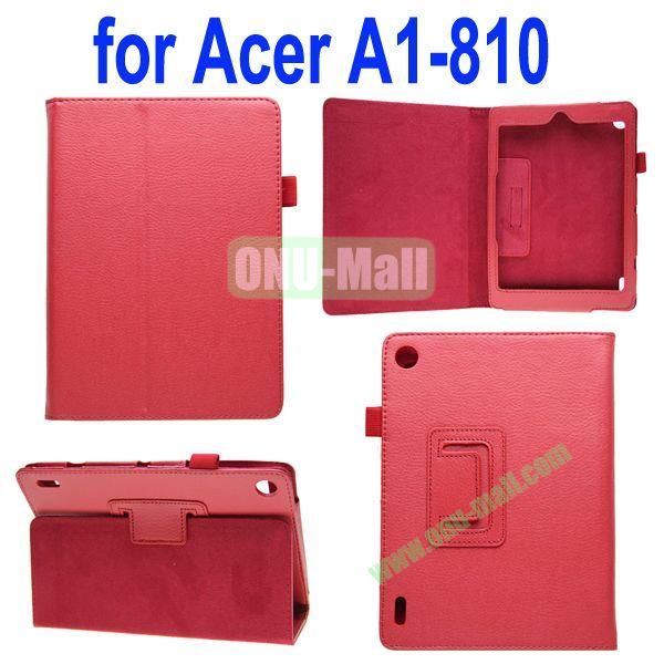 High Quality Lichee Texture Leather Case for Acer Iconia A1-810 with Pen Holder (Red)