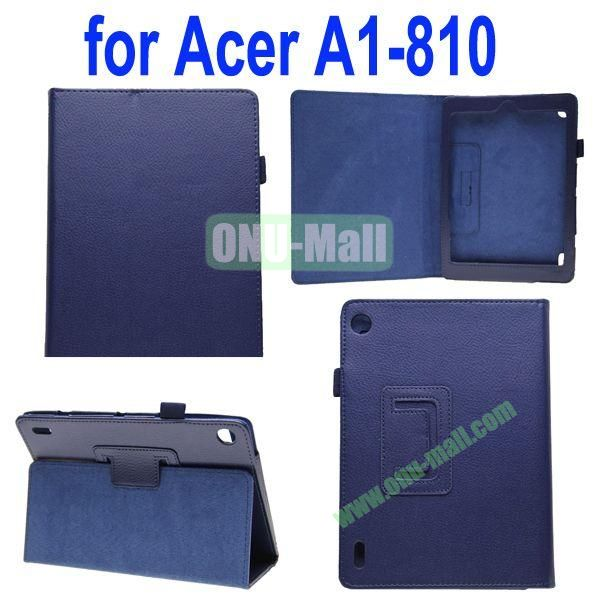 High Quality Lichee Texture Leather Case for Acer Iconia A1-810 with Pen Holder (Dark Blue)