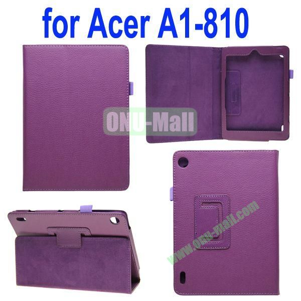 High Quality Lichee Texture Leather Case for Acer Iconia A1-810 with Pen Holder (Purple)