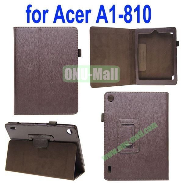High Quality Lichee Texture Leather Case for Acer Iconia A1-810 with Pen Holder (Brown)