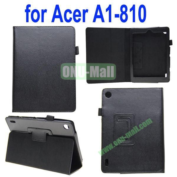 High Quality Lichee Texture Leather Case for Acer Iconia A1-810 with Pen Holder (Black)