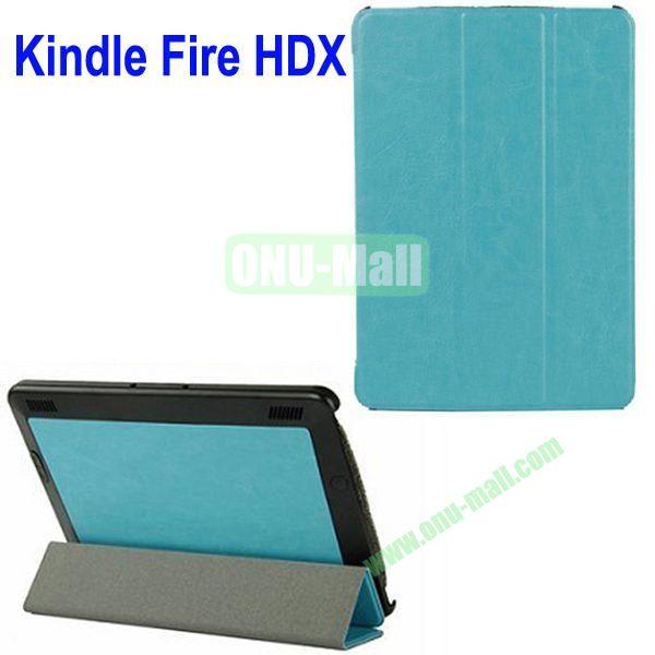 3-folding Crazy Horse Texture Leather Case for Amazon Kindle Fire HDX 7 (Blue)