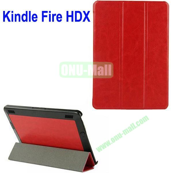 3-folding Crazy Horse Texture Leather Case for Amazon Kindle Fire HDX 7 (Red)
