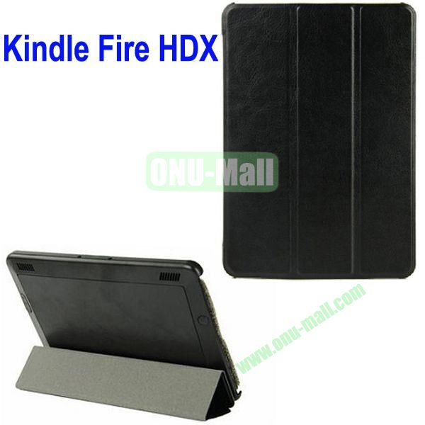 3-folding Crazy Horse Texture Leather Case for Amazon Kindle Fire HDX 7 (Black)