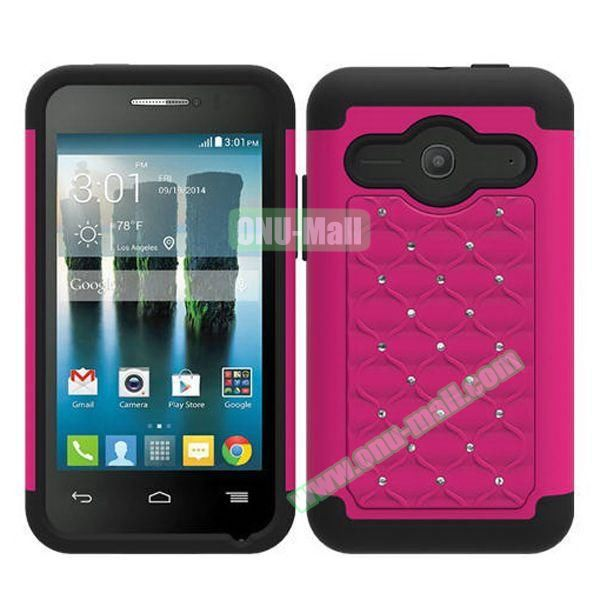 Bling Bling Style Silicone and PC Heavy-duty Case for Alcatel One Touch Evolve 2 (Rose)