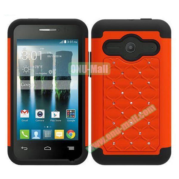 Bling Bling Style Silicone and PC Heavy-duty Case for Alcatel One Touch Evolve 2 (Orange)