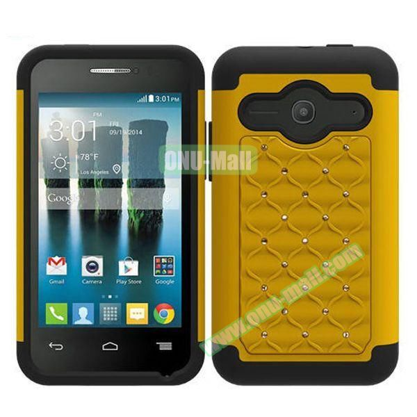 Bling Bling Style Silicone and PC Heavy-duty Case for Alcatel One Touch Evolve 2 (Yellow)