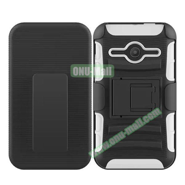 3 in1 Pattern Snap-On Kickstand Rugged Protective Hybrid Case for Alcatel One Touch Evolve 2 (White)