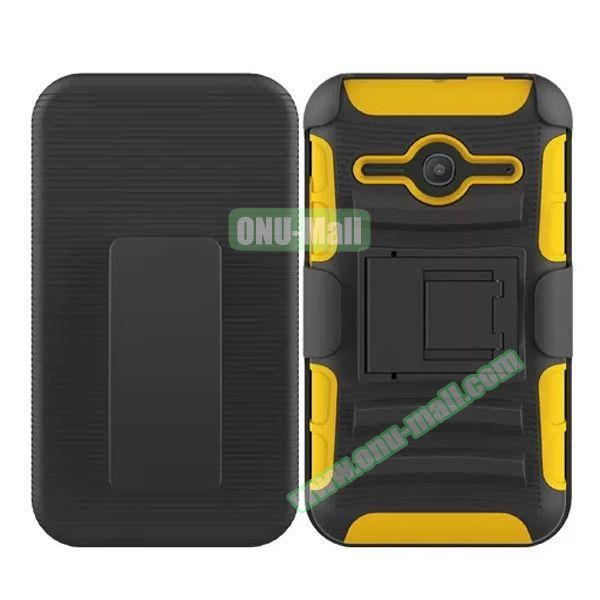 3 in1 Pattern Snap-On Kickstand Rugged Protective Hybrid Case for Alcatel One Touch Evolve 2 (Yellow)