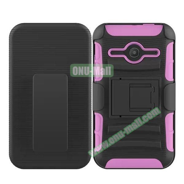 3 in1 Pattern Snap-On Kickstand Rugged Protective Hybrid Case for Alcatel One Touch Evolve 2 (Pink)