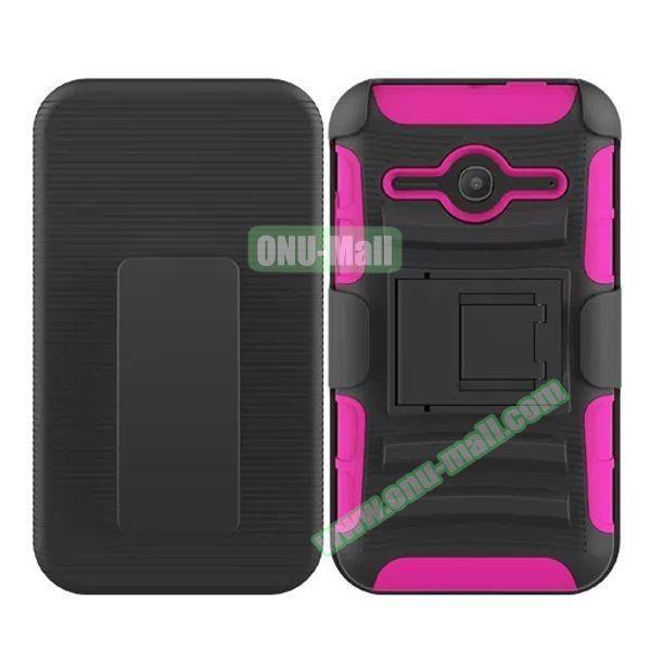 3 in1 Pattern Snap-On Kickstand Rugged Protective Hybrid Case for Alcatel One Touch Evolve 2 (Rose)