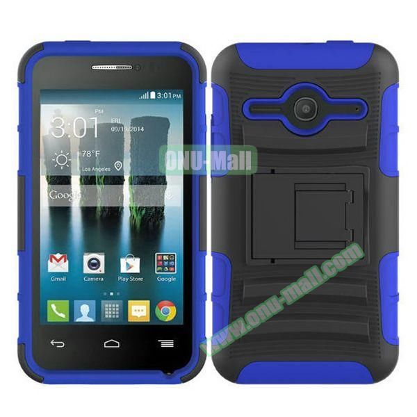 3 in1 Pattern Snap-On Kickstand Rugged Protective Hybrid Case for Alcatel One Touch Evolve 2 (Blue)