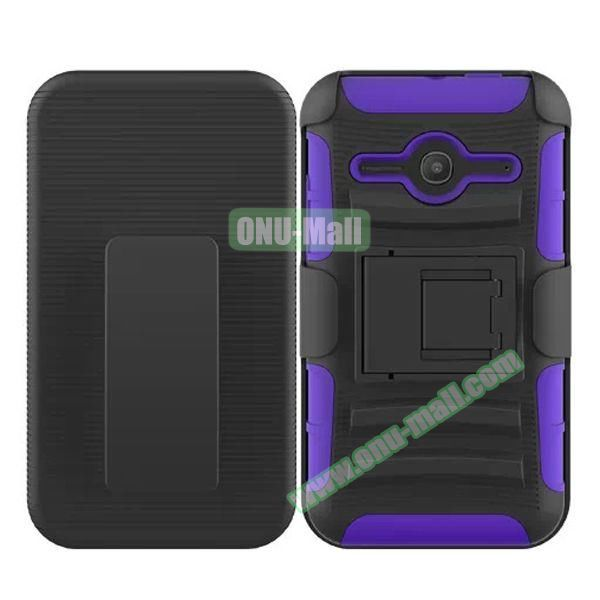 3 in1 Pattern Snap-On Kickstand Rugged Protective Hybrid Case for Alcatel One Touch Evolve 2 (Purple)