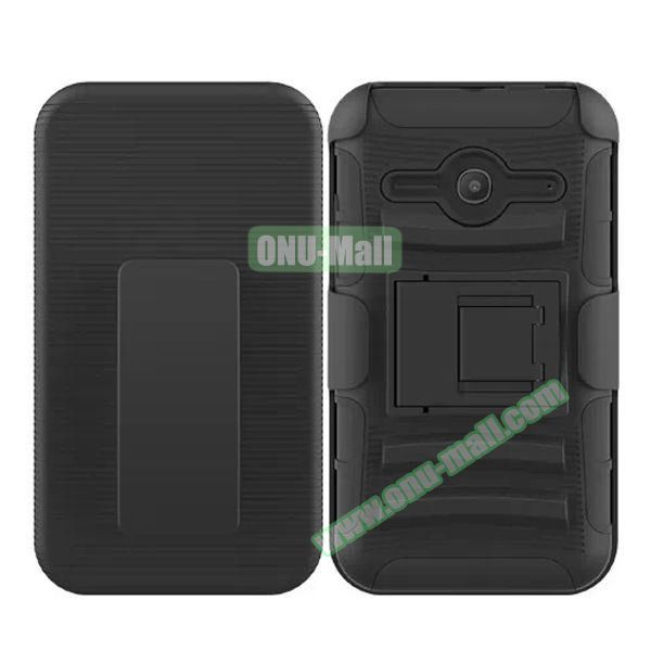 3 in1 Pattern Snap-On Kickstand Rugged Protective Hybrid Case for Alcatel One Touch Evolve 2 (Black)