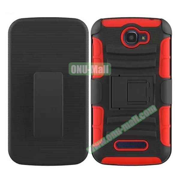 3 in1 Pattern Snap-On Kickstand Rugged Protective Hybrid Case for Alcatel One Touch Pop C7 (Orange)