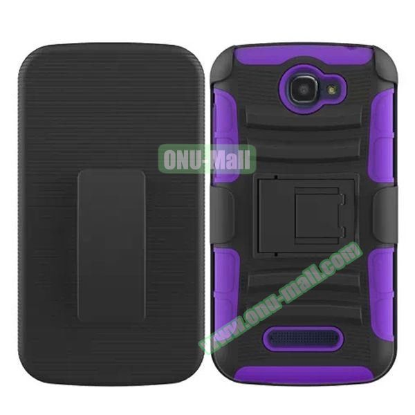 3 in1 Pattern Snap-On Kickstand Rugged Protective Hybrid Case for Alcatel One Touch Pop C7 (Purple)