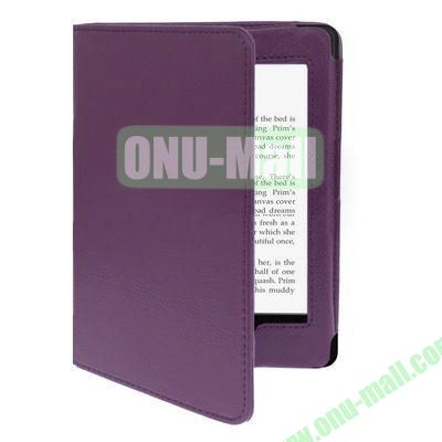 Litchi Texture Leather Case for Amazon Kindle Paperwhite (Purple)