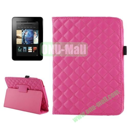 Grid Pattern Leather Case for Amazon Kindle Fire HD with Holder (Magenta)