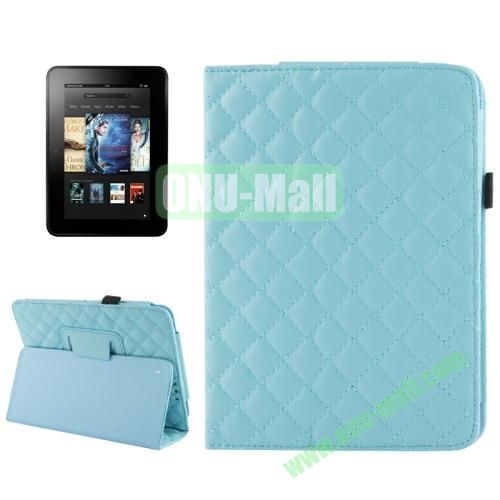 Grid Pattern Leather Case for Amazon Kindle Fire HD with Holder (Light Blue)