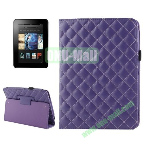 Grid Pattern Leather Case for Amazon Kindle Fire HD with Holder (Purple)