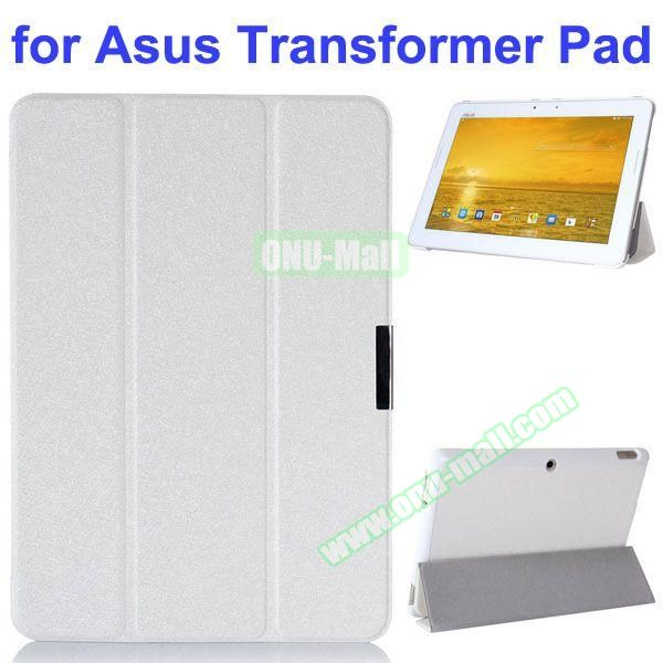 Silk Texture 3 Folding Pattern Stand Leather Case for Asus Transformer Pad TF303CL (White)