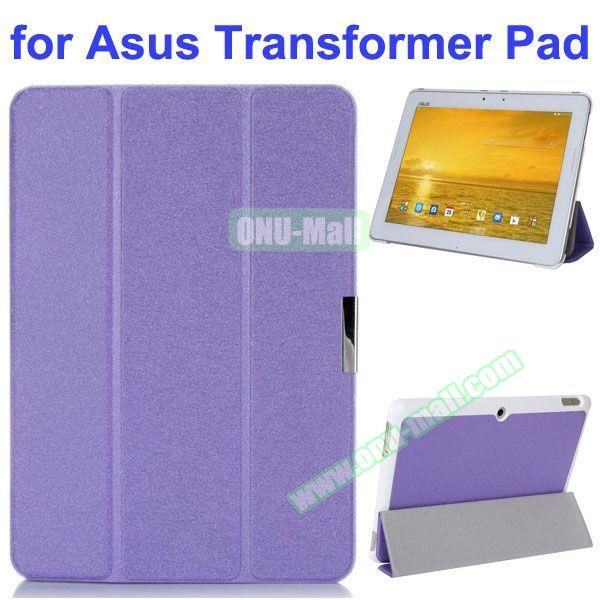 Silk Texture 3 Folding Pattern Stand Leather Case for Asus Transformer Pad TF303CL (Purple)