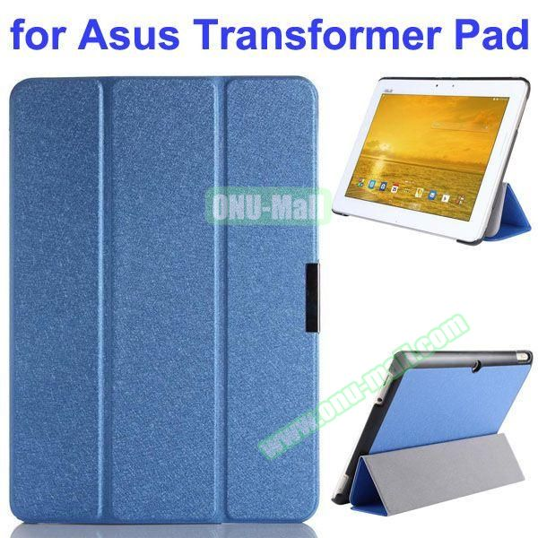 Silk Texture 3 Folding Pattern Stand Leather Case for Asus Transformer Pad TF303CL (Blue)